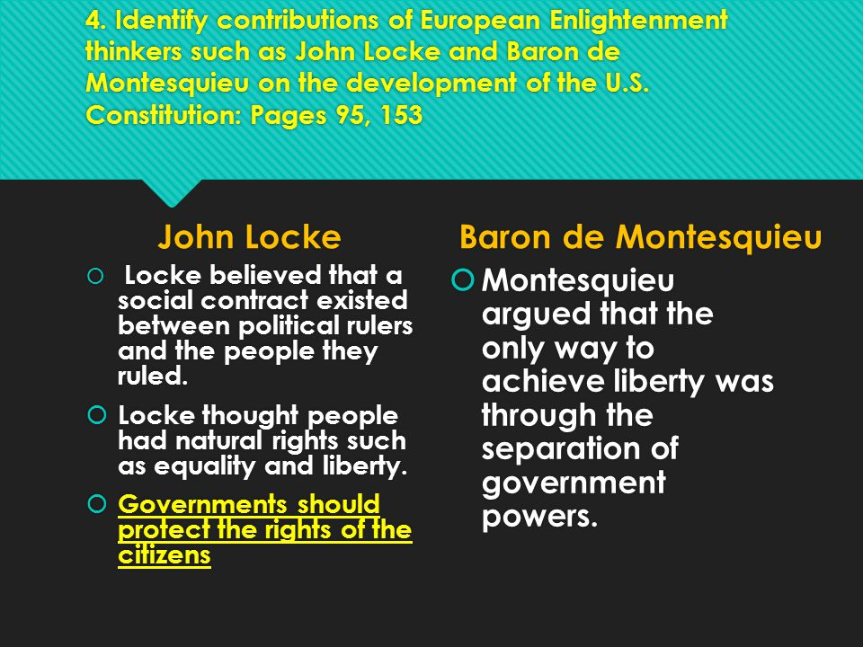Unit 3 4. Identify contributions of European Enlightenment thinkers such as John Locke and Baron de Montesquieu on the development of the U.S. Constit