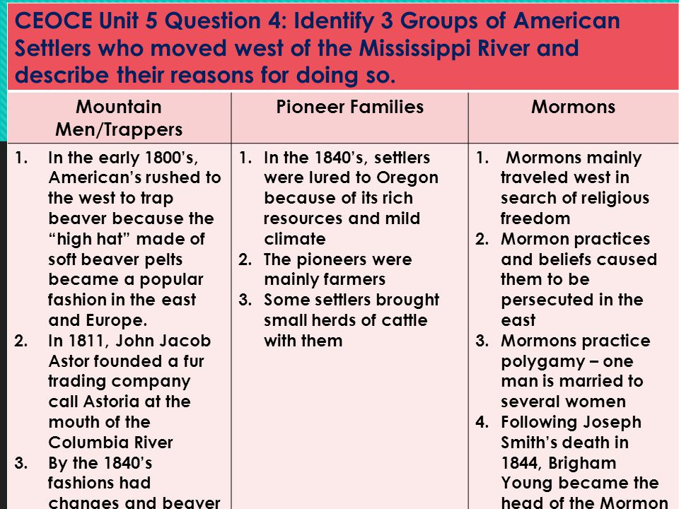 CEOCE Unit 5 Question 4: Identify 3 Groups of American Settlers who moved west of the Mississippi River and describe their reasons for doing so. Mount