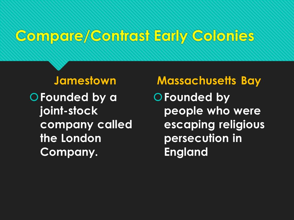 Compare/Contrast Early Colonies Jamestown  Founded by a joint-stock company called the London Company. Massachusetts Bay  Founded by people who were
