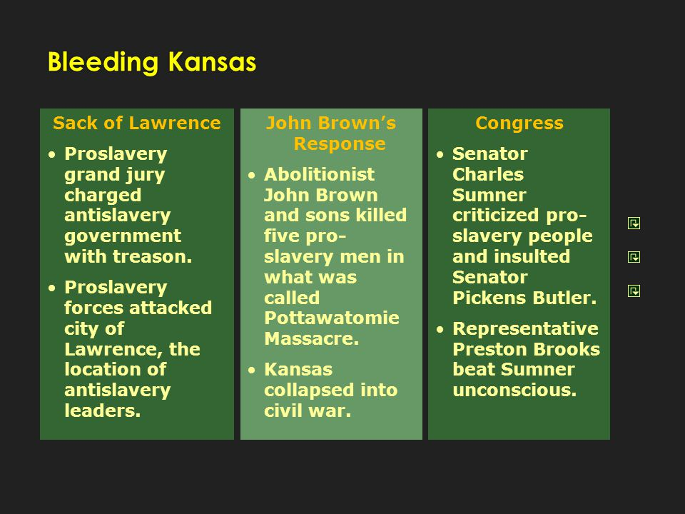 Sack of Lawrence Proslavery grand jury charged antislavery government with treason. Proslavery forces attacked city of Lawrence, the location of antis