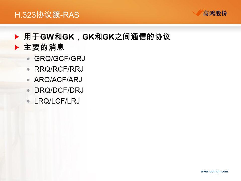 www.gohigh.com H.323 协议簇 -RAS 用于 GW 和 GK , GK 和 GK 之间通信的协议 主要的消息  GRQ/GCF/GRJ  RRQ/RCF/RRJ  ARQ/ACF/ARJ  DRQ/DCF/DRJ  LRQ/LCF/LRJ