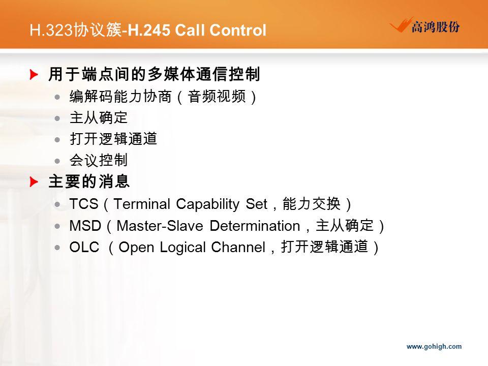 www.gohigh.com H.323 协议簇 -H.245 Call Control 用于端点间的多媒体通信控制  编解码能力协商(音频视频)  主从确定  打开逻辑通道  会议控制 主要的消息  TCS ( Terminal Capability Set ,能力交换)  MSD ( Master-Slave Determination ,主从确定)  OLC ( Open Logical Channel ,打开逻辑通道)