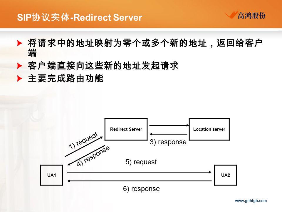 www.gohigh.com SIP 协议实体 -Redirect Server 将请求中的地址映射为零个或多个新的地址,返回给客户 端 客户端直接向这些新的地址发起请求 主要完成路由功能 UA1 UA2 Redirect ServerLocation server 1) request 4) response 3) response 5) request 6) response