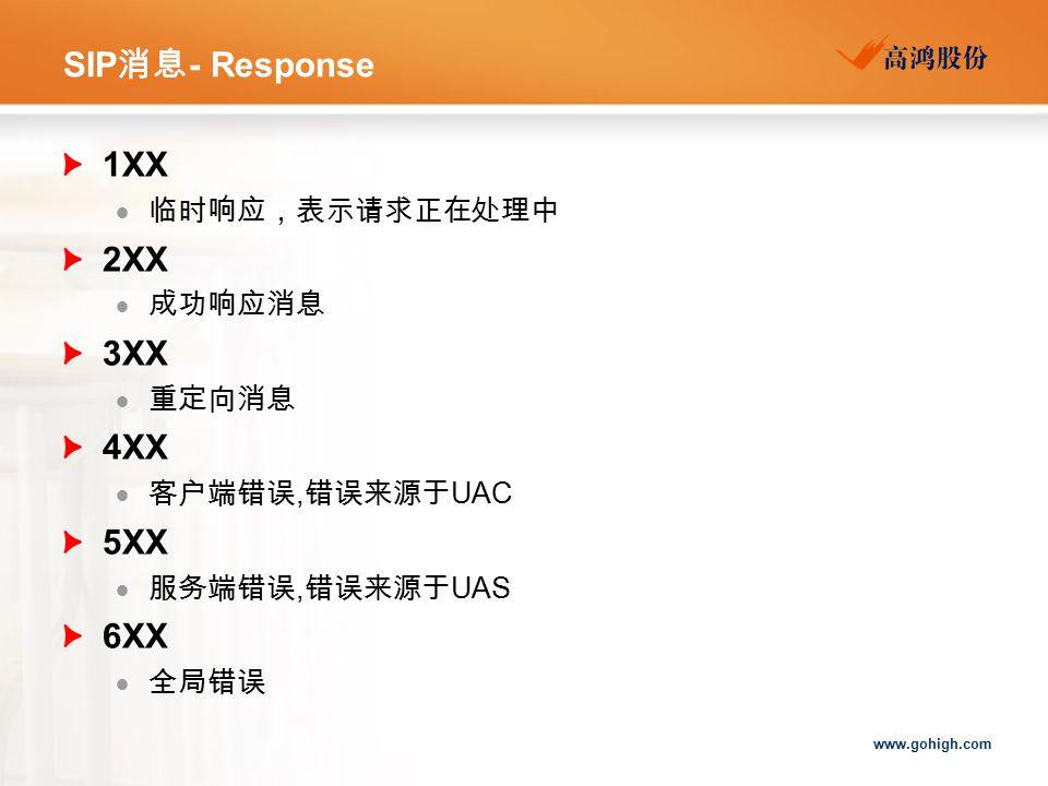 www.gohigh.com SIP 消息 - Response 1XX  临时响应,表示请求正在处理中 2XX  成功响应消息 3XX  重定向消息 4XX  客户端错误, 错误来源于 UAC 5XX  服务端错误, 错误来源于 UAS 6XX  全局错误