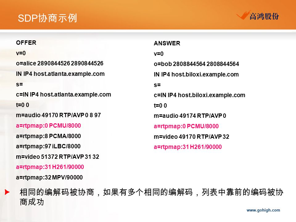 www.gohigh.com SDP 协商示例 OFFER v=0 o=alice 2890844526 2890844526 IN IP4 host.atlanta.example.com s= c=IN IP4 host.atlanta.example.com t=0 0 m=audio 491