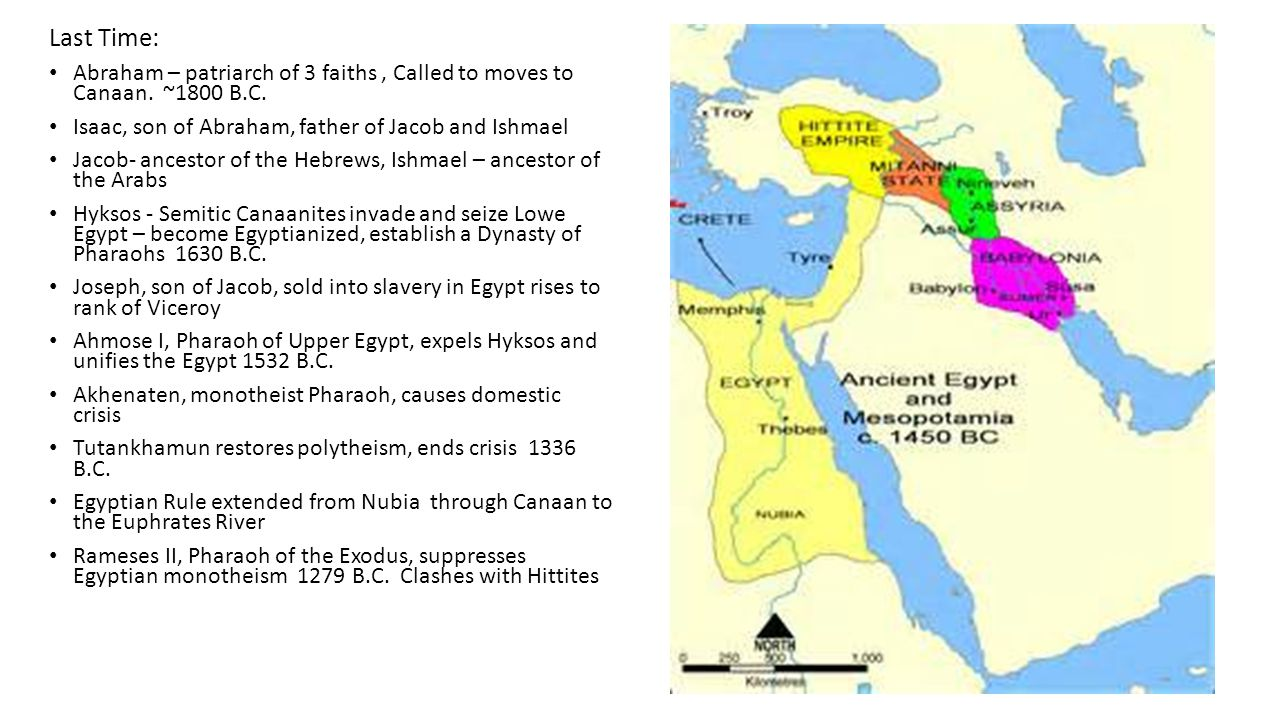 Last Time: Abraham – patriarch of 3 faiths, Called to moves to Canaan. ~1800 B.C. Isaac, son of Abraham, father of Jacob and Ishmael Jacob- ancestor o