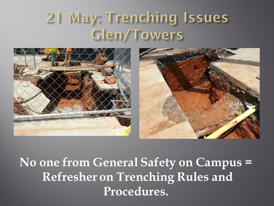 No one from General Safety on Campus = Refresher on Trenching Rules and Procedures.