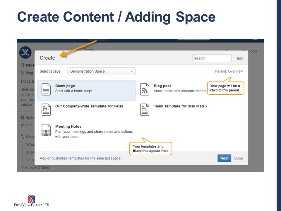 Create Content / Adding Space