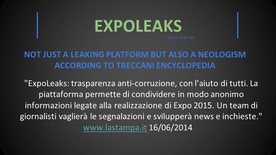 ExpoLeaks: trasparenza anti-corruzione, con l'aiuto di tutti.