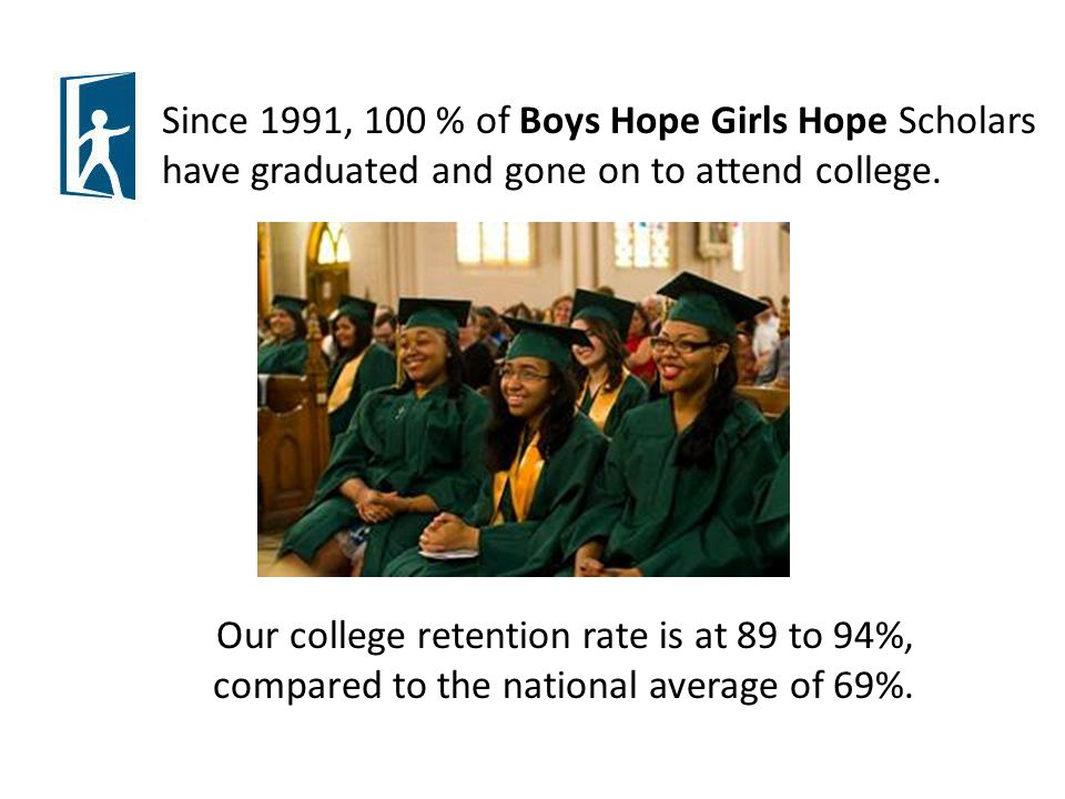 Since 1991, 100 % of Boys Hope Girls Hope Scholars have graduated and gone on to attend college.