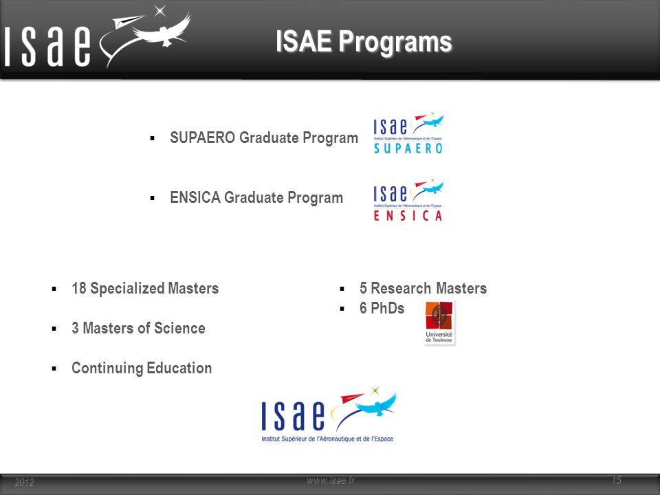 ISAE Programs  SUPAERO Graduate Program  ENSICA Graduate Program  18 Specialized Masters  3 Masters of Science  Continuing Education  5 Research
