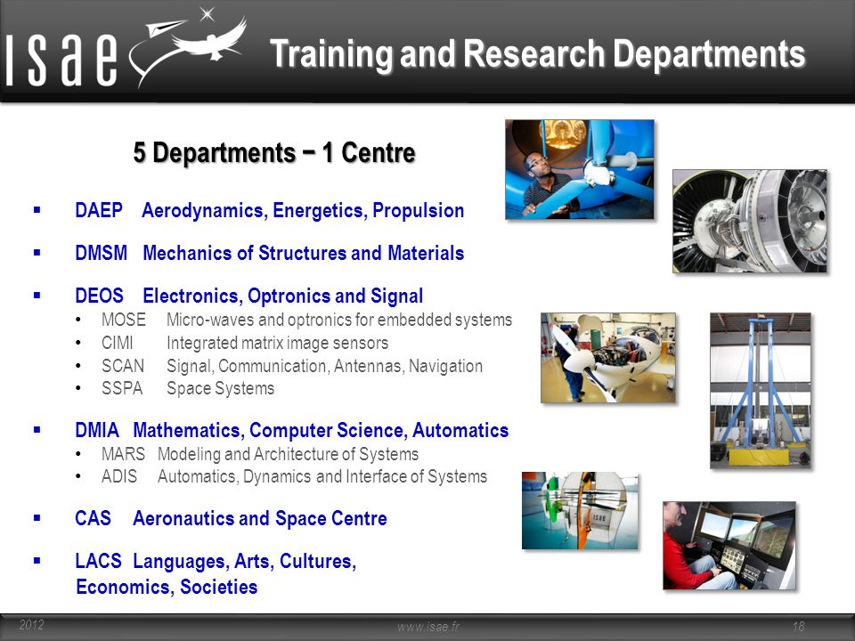 Training and Research Departments 5 Departments − 1 Centre  DAEP Aerodynamics, Energetics, Propulsion  DMSM Mechanics of Structures and Materials  DEOS Electronics, Optronics and Signal MOSE Micro-waves and optronics for embedded systems CIMI Integrated matrix image sensors SCAN Signal, Communication, Antennas, Navigation SSPA Space Systems  DMIAMathematics, Computer Science, Automatics MARSModeling and Architecture of Systems ADISAutomatics, Dynamics and Interface of Systems  CASAeronautics and Space Centre  LACSLanguages, Arts, Cultures, Economics, Societies www.isae.fr 18 2012