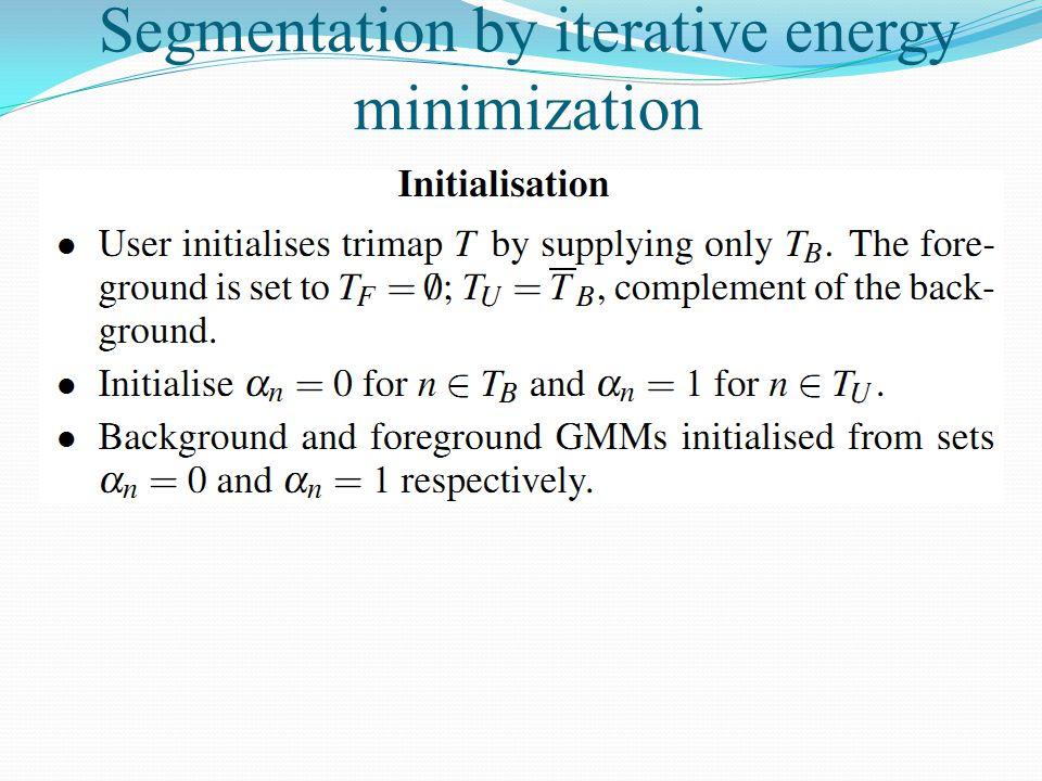 Segmentation by iterative energy minimization