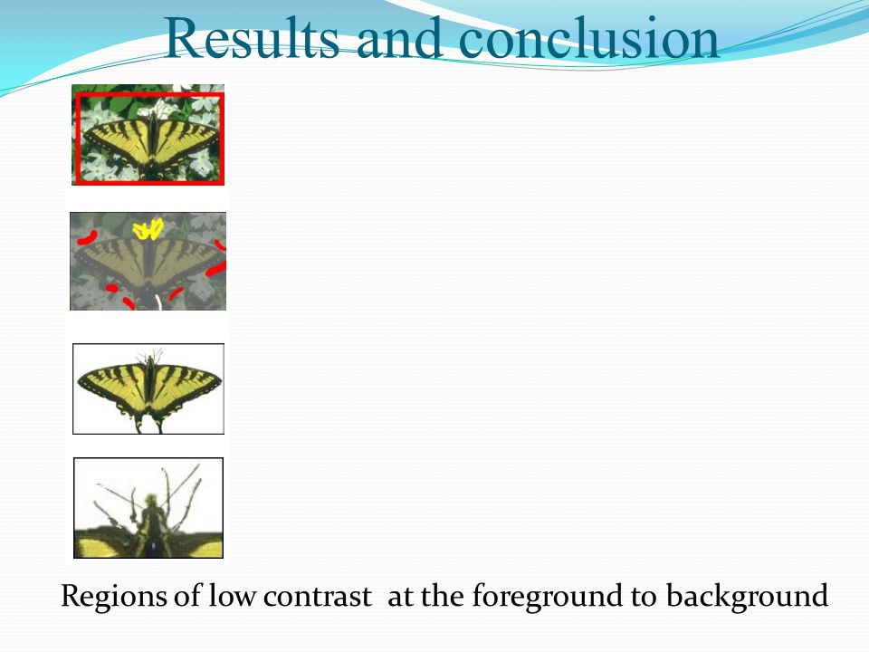 Results and conclusion Regions of low contrast at the foreground to background