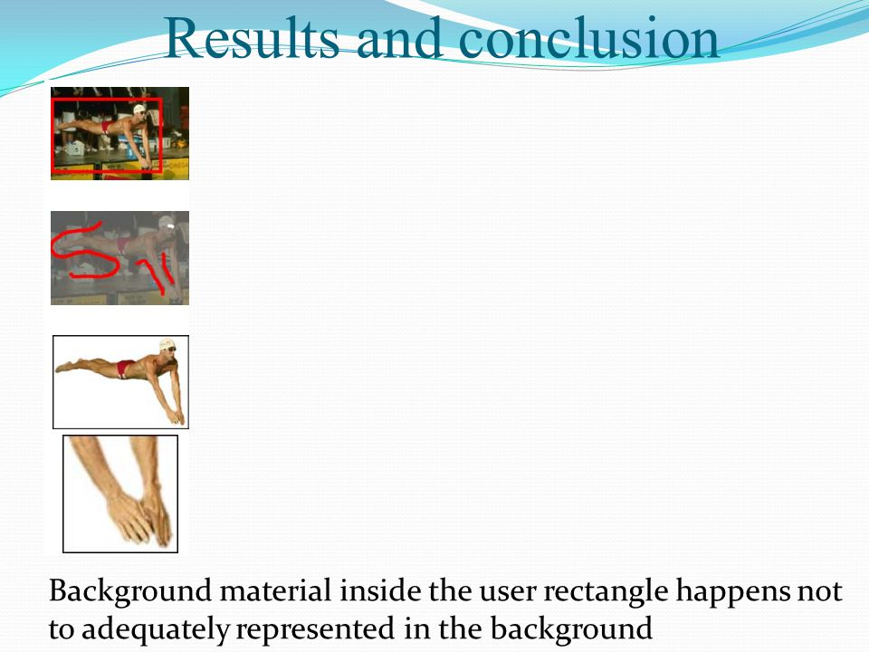 Results and conclusion Background material inside the user rectangle happens not to adequately represented in the background
