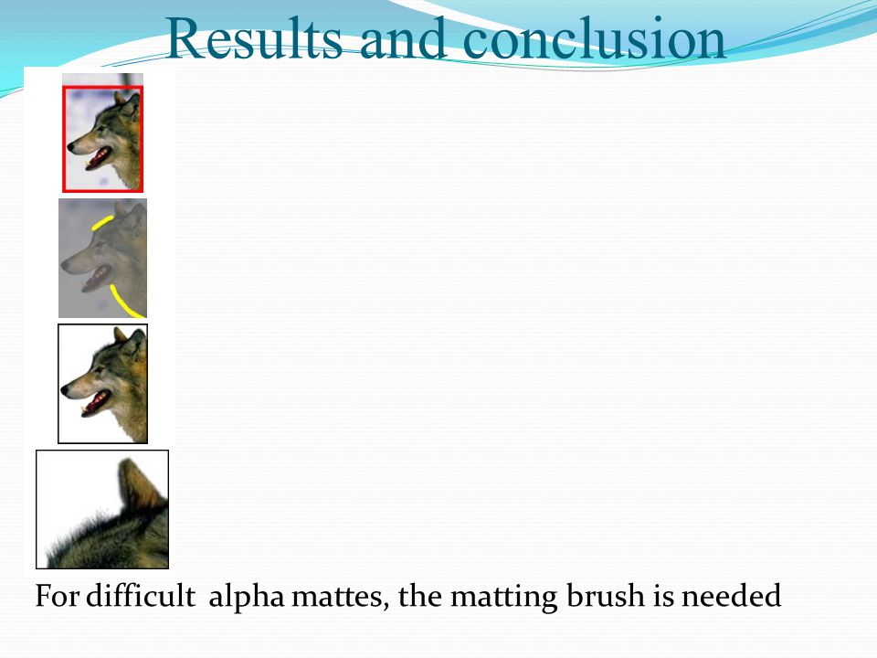 Results and conclusion For difficult alpha mattes, the matting brush is needed