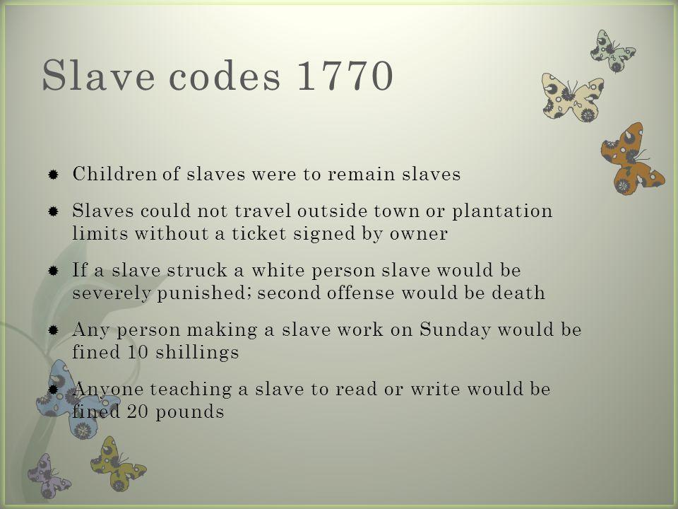 Slave codes 1770