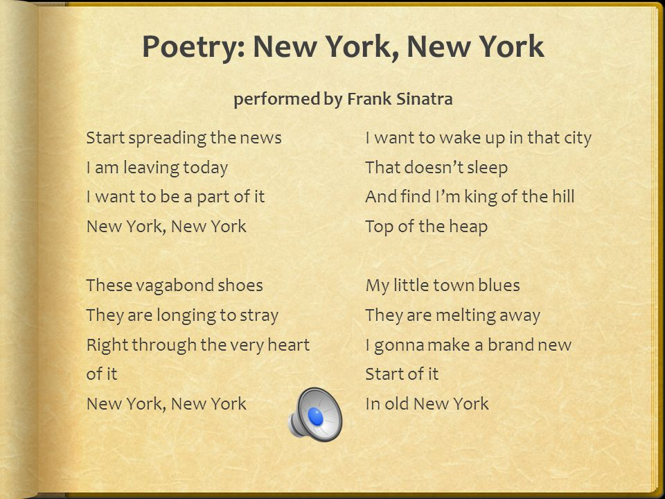 Poetry: Under New York by Linda Oatman High This poetry picture book depicts what happens beneath the streets of New York City.