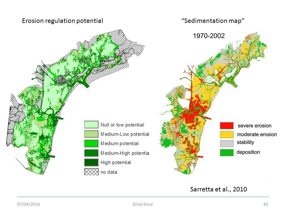 Silvia Rova40 Sarretta et al., 2010 Erosion regulation potential Sedimentation map 07/04/2014