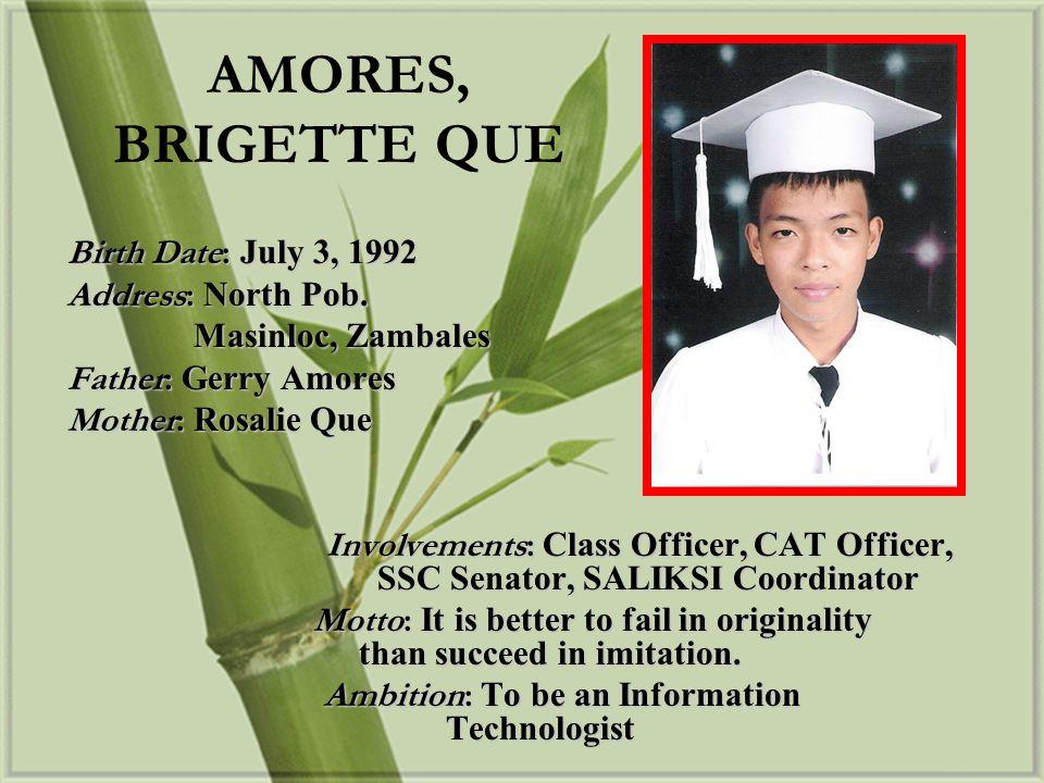 Birth Date: September 12, 1992 Address: Sto.