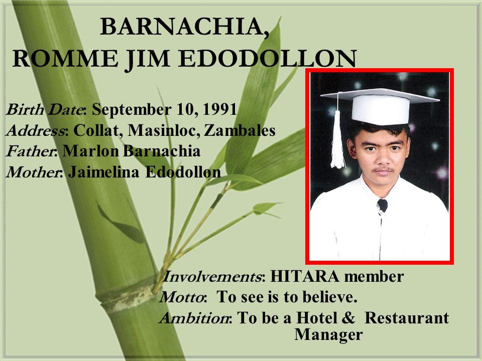Birth Date: September 10, 1992 Address: Yakal II, Baloganon, Masinloc, Zambales Father: Ernesto Hagupit Sr.