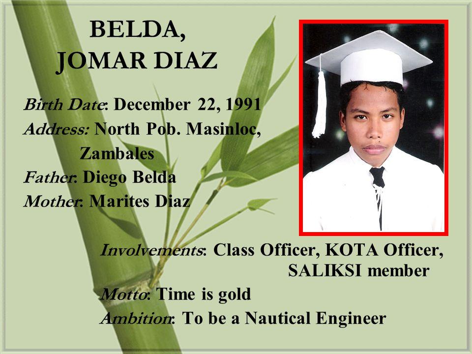 Birth Date: October 7, 1991 Address: Sto.