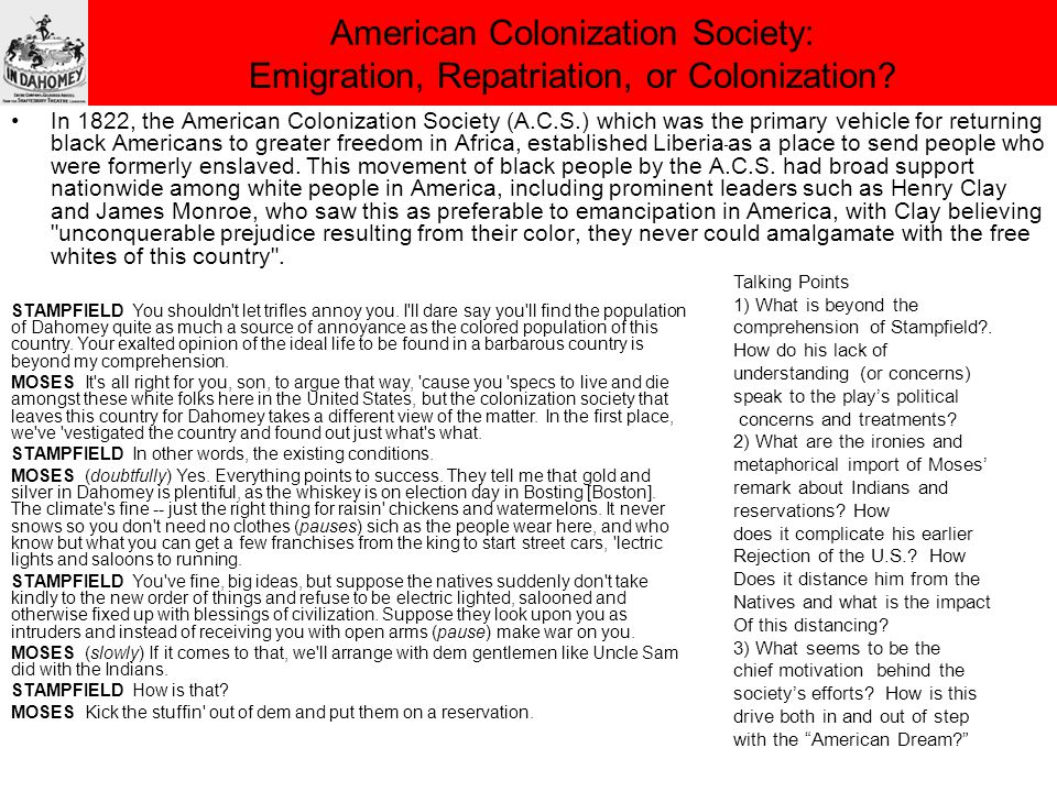 American Colonization Society: Emigration, Repatriation, or Colonization.
