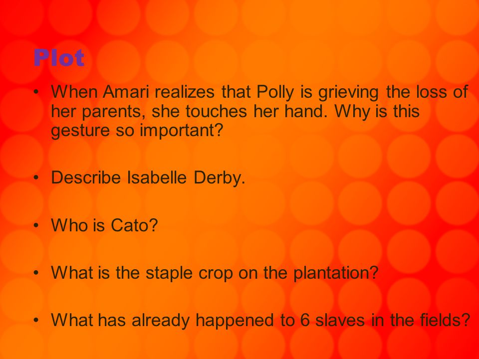 Plot When Amari realizes that Polly is grieving the loss of her parents, she touches her hand. Why is this gesture so important? Describe Isabelle Der