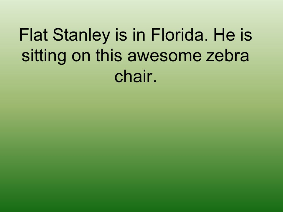 Flat Stanley is in Florida. He is sitting on this awesome zebra chair.