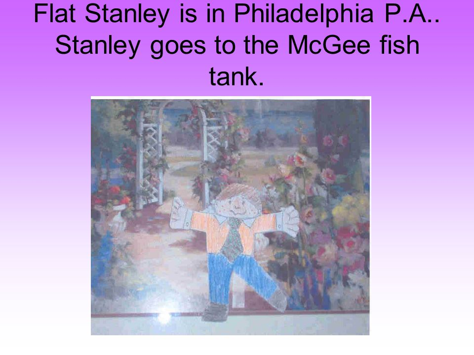 Flat Stanley is in Philadelphia P.A.. Stanley goes to the McGee fish tank.