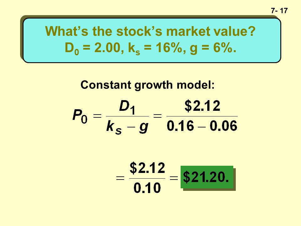 7- 17 What's the stock's market value D 0 = 2.00, k s = 16%, g = 6%. Constant growth model: