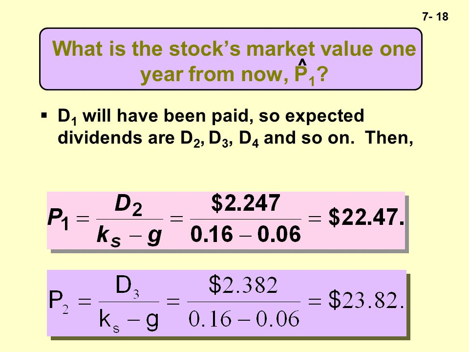 7- 18 What is the stock's market value one year from now, P 1 .