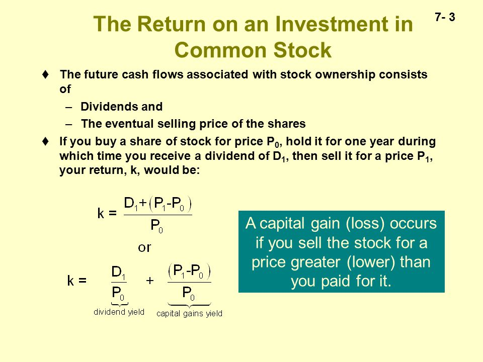 7- 14 The Zero Growth Rate Case—A Constant Dividend  If a stock is expected to pay a constant, non-growing dividend, each dollar dividend is the same  Gordon model simplifies to:  A zero growth stock is a perpetuity to the investor