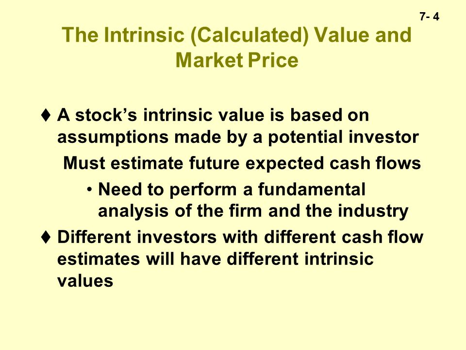 7- 15 The Expected Return  Can recast Constant Growth model to focus on the return (k) implied by the constant growth assumption  g is the expected capital gains (%)  The higher the expected growth in dividends the faster the price is expected to grow  Would this apply to farmland.