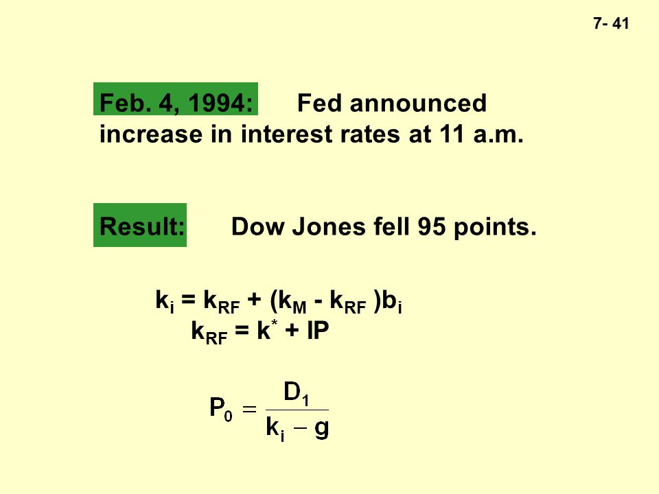 7- 41 Feb. 4, 1994:Fed announced increase in interest rates at 11 a.m.
