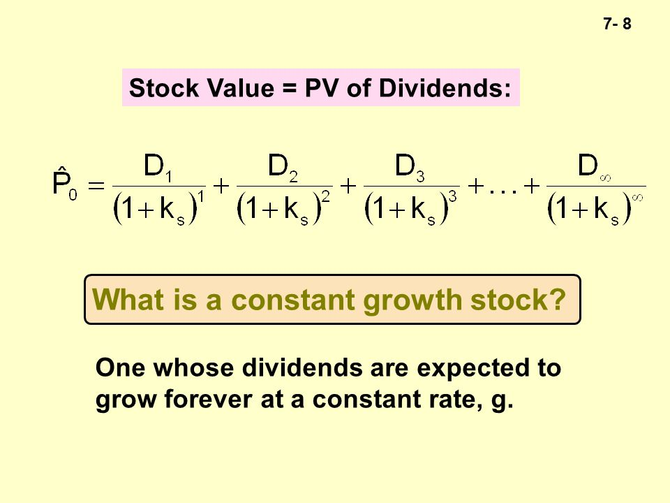 7- 19 Constant Growth Implications YearDividendMultipleStock Price Growth Rate 0$2.1210$21.206% 1$2.24710$22.476% 2$2.38210$23.826% K s = 16%; g = 6%; 1/(.16-.06) = 10