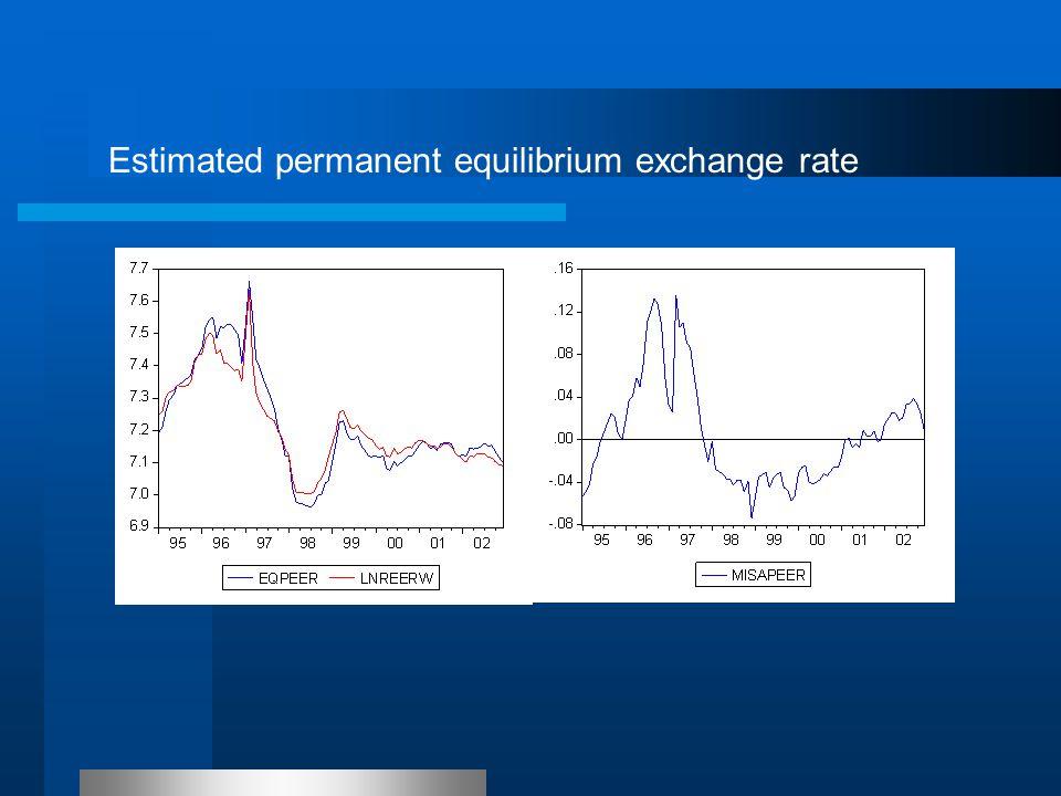 Estimated permanent equilibrium exchange rate