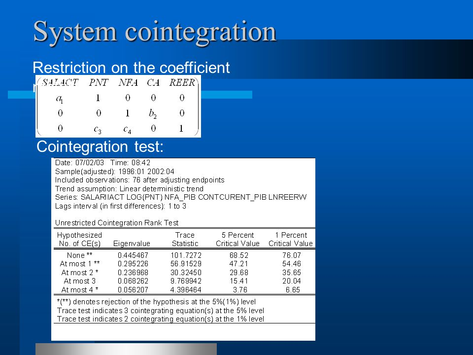 Restriction on the coefficient matrix Cointegration test: System cointegration
