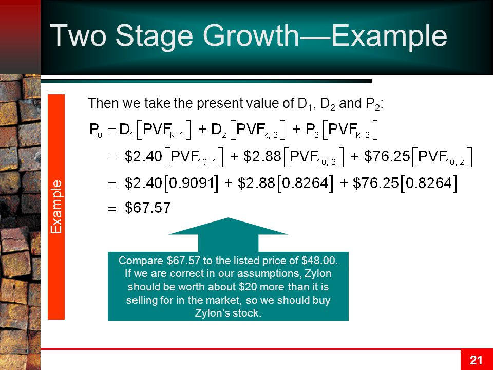 21 Two Stage Growth—Example Then we take the present value of D 1, D 2 and P 2 : Example Compare $67.57 to the listed price of $48.00. If we are corre
