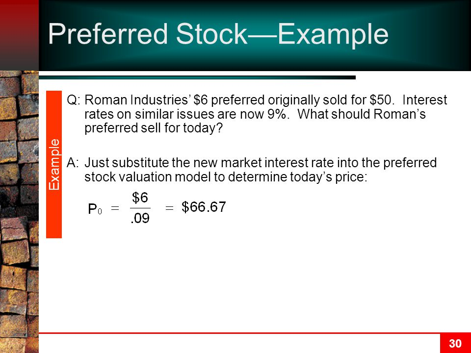 30 Preferred Stock—Example Q:Roman Industries' $6 preferred originally sold for $50. Interest rates on similar issues are now 9%. What should Roman's