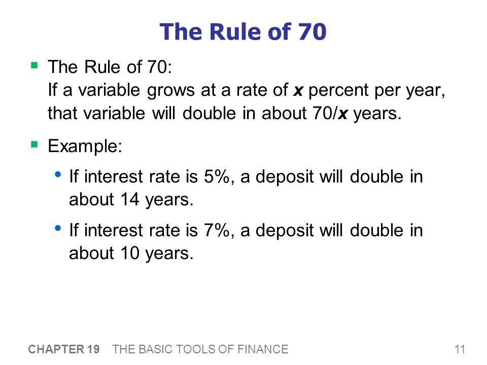 11 CHAPTER 19 THE BASIC TOOLS OF FINANCE The Rule of 70  The Rule of 70: If a variable grows at a rate of x percent per year, that variable will double in about 70/x years.