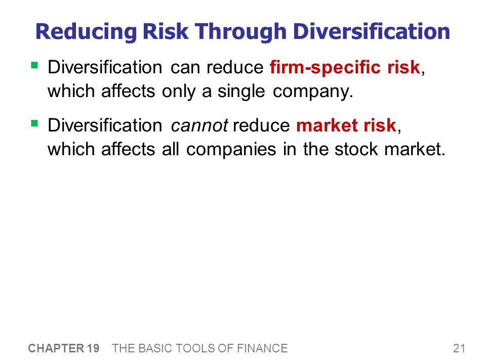 21 CHAPTER 19 THE BASIC TOOLS OF FINANCE Reducing Risk Through Diversification  Diversification can reduce firm-specific risk, which affects only a single company.
