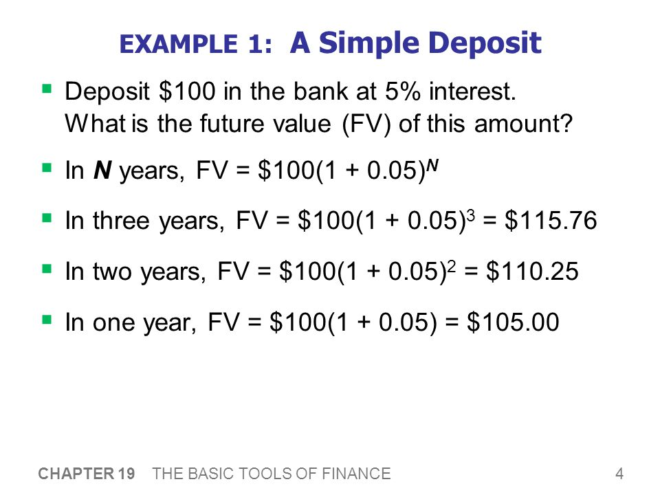 4 CHAPTER 19 THE BASIC TOOLS OF FINANCE EXAMPLE 1: A Simple Deposit  Deposit $100 in the bank at 5% interest.