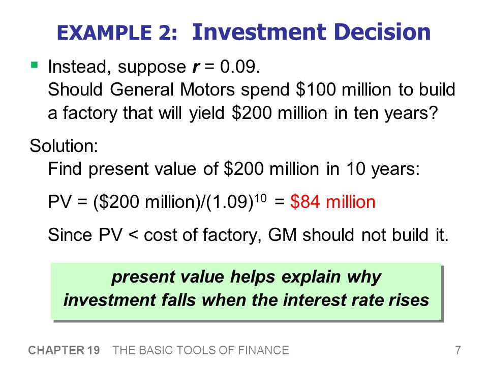 7 CHAPTER 19 THE BASIC TOOLS OF FINANCE EXAMPLE 2: Investment Decision  Instead, suppose r = 0.09.