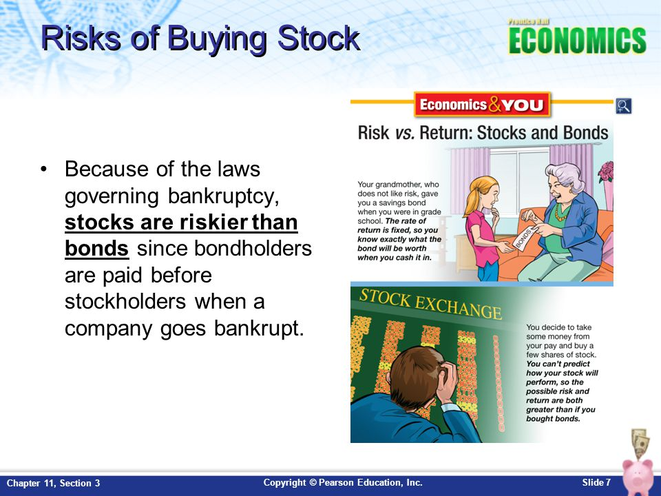 Copyright © Pearson Education, Inc.Slide 8 Chapter 11, Section 3 How Stocks are Traded You would first contact a stockbroker or create an account online E.G.