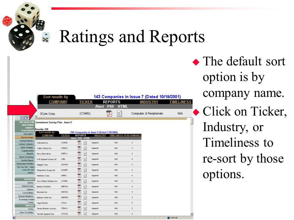 Ratings and Reports u The default sort option is by company name.
