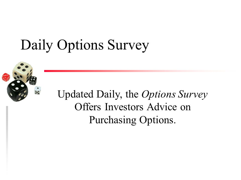 Daily Options Survey Updated Daily, the Options Survey Offers Investors Advice on Purchasing Options.