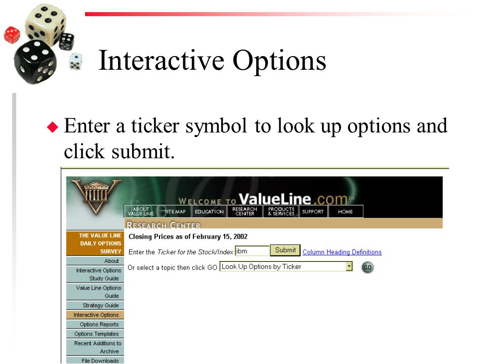 Interactive Options u Enter a ticker symbol to look up options and click submit.