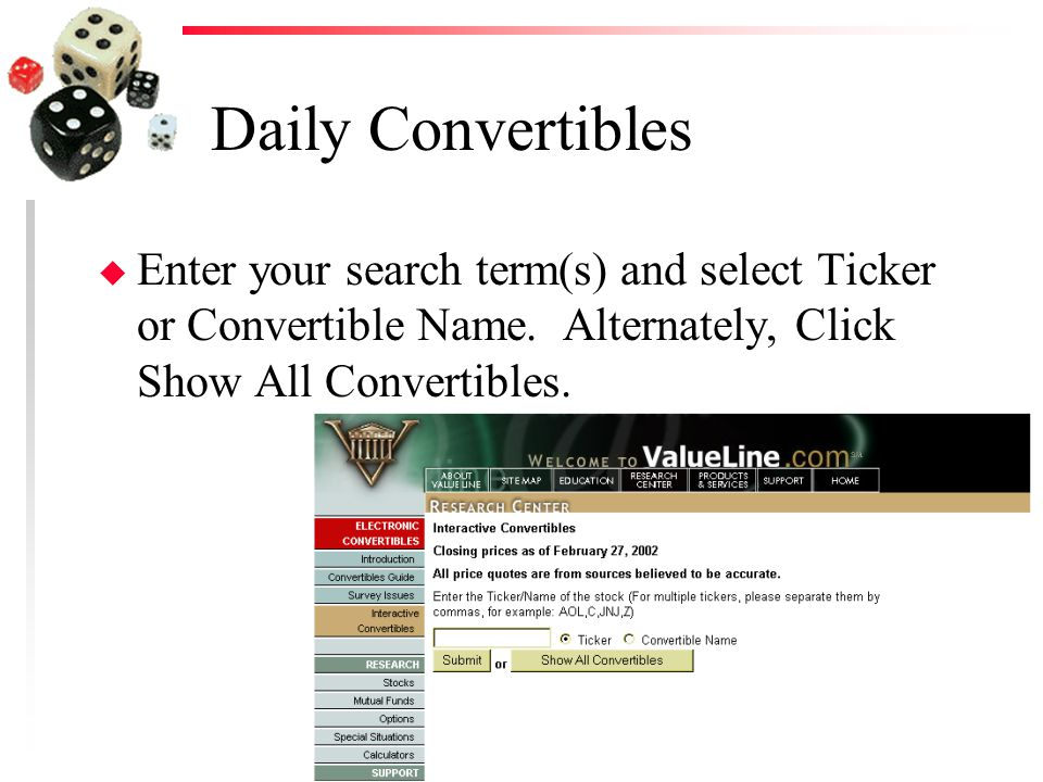Daily Convertibles u Enter your search term(s) and select Ticker or Convertible Name.