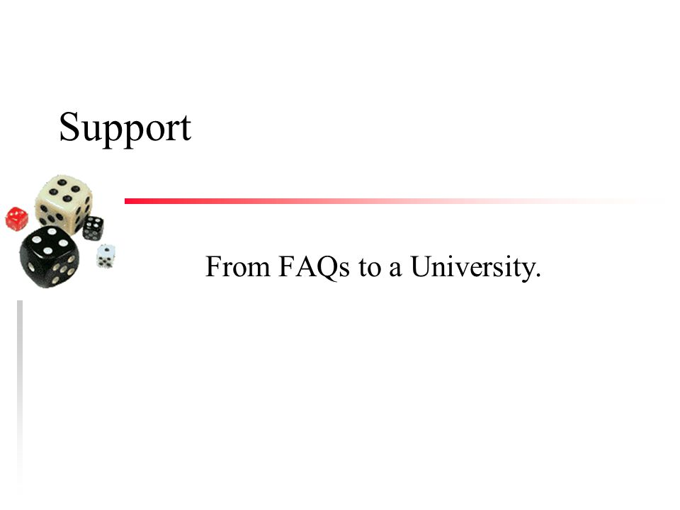 Support From FAQs to a University.